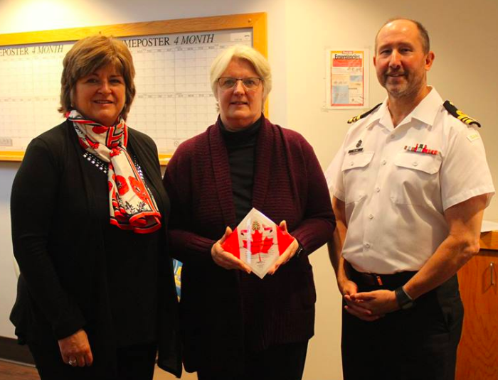 Donna (centre), 25th anniversary of military family services program (with Board member Julie Ambrose and LCmdr Rob Alain from QCH)